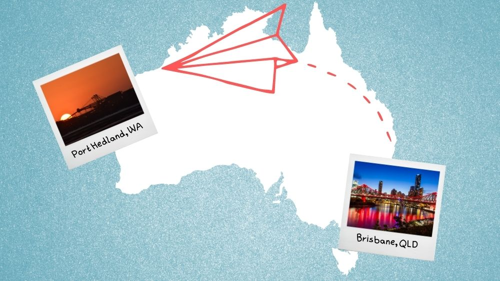 Graphic of plane flying from Brisbane to Port Hedland