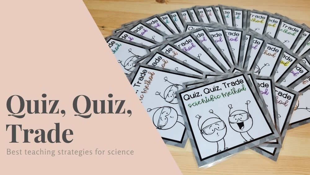 """Image of cards fanned out. The backs of cards of visible, each card has two cartoon characters with circle bodies holding their hands up smiling. Each card says """"Quiz, Quiz, Trade, Scientific Method"""". The image also contains grey text that reads """"Quiz, quiz, trade: Best teaching strategies for science"""" in grey on a pale pink background"""