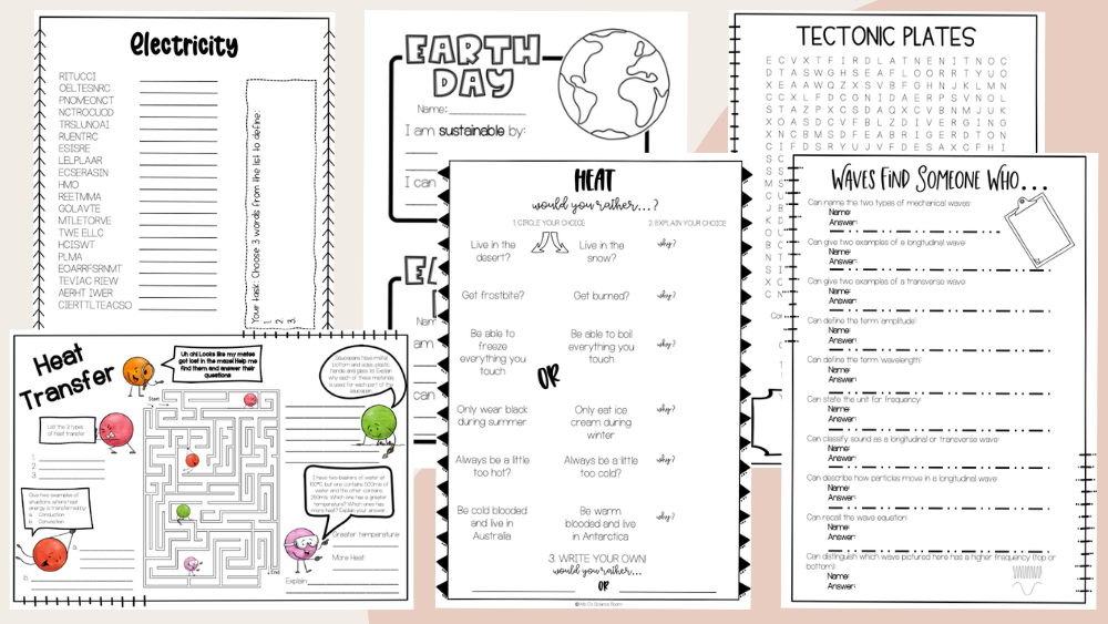 """Image of worksheets on off-white and pink background. Visible worksheet titles are: """"Electricity, heat transfer, earth day, heat, tectonic plates, waves find someone who"""""""